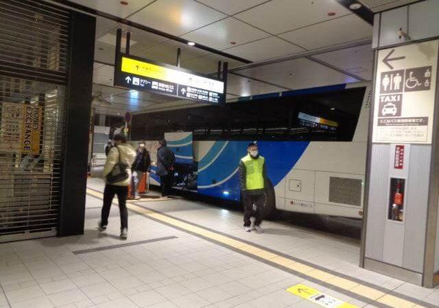 Night bus arrival at Shinjuku station