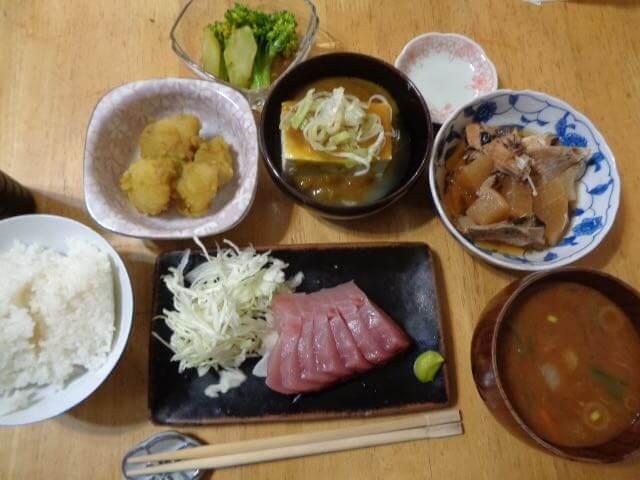 hamachi set meal with simmered hamachi with daikon Japanese radish